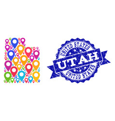 Collage map of utah state with map markers and vector