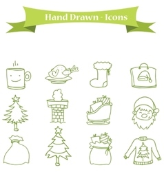 Collection of icon Christmas set vector