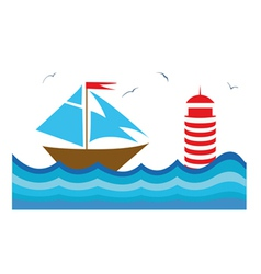 Colorful with a sailboot vector image