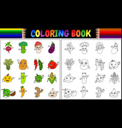 Coloring book with cute cartoon vegetables vector
