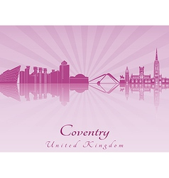 Coventry skyline in purple radiant orchid vector image
