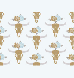 Cow skull with peonies bouquet bohemian design vector