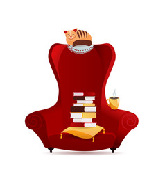 Cozy vintage armchair with stack books cat vector