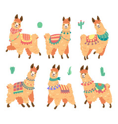 Cute alpaca character with different emotions vector