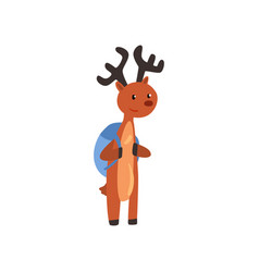 Cute deer animal cartoon character standing with vector