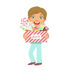 cute little boy carrying a box of sweets a vector image