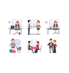 Daily routine business woman in various vector