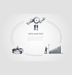 Data analytics - business people looking at data vector