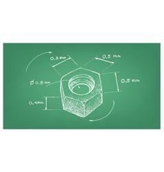 Dimension hex nut screw on blueprint vector