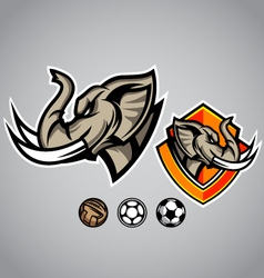 Elephant head emblem logo football vector