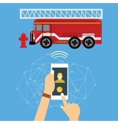 Emergency mobile phone call fire truck fireman vector