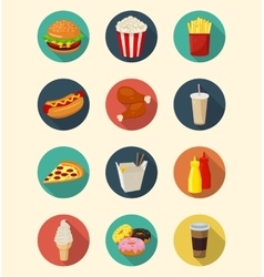 Fast food icons set modern flat design Healthy vector image