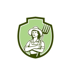 Female Organic Farmer Pitchfork Shield Retro vector