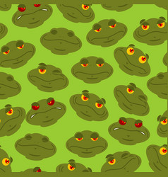 Frog seamless pattern amphibian ornament toad vector