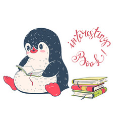 funny cartoon penguin with books vector image