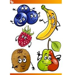 funny fruits cartoon set vector image