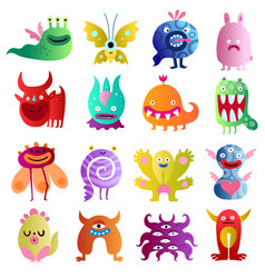 Funny monsters big set vector