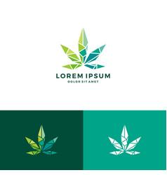 Geometric cannabis logo low poly glass crystal vector