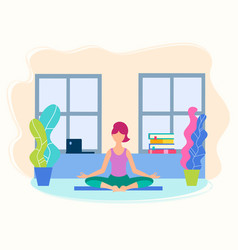 girl in yoga position in her room vector image