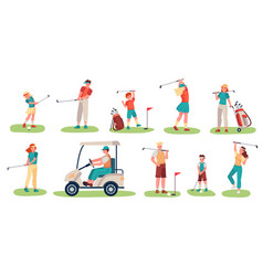 Golf players characters men women and children vector