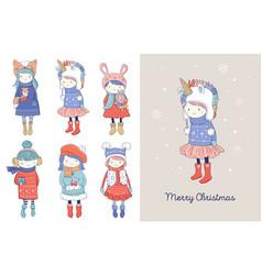hand drawn beautiful cute little winter girls vector image
