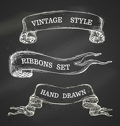 Hand-drawn chalk vintage ribbons set on blackboard vector