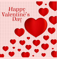 happy valentines day with hearts pattern vector image