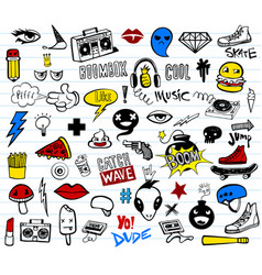 Hipsters teens doodle set vector