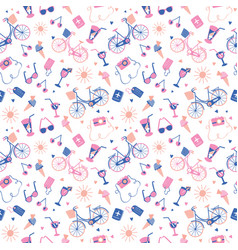 Holiday abroad pastel summer pattern design vector
