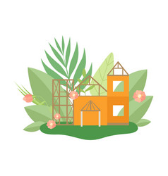 house in construction process in spring or summer vector image