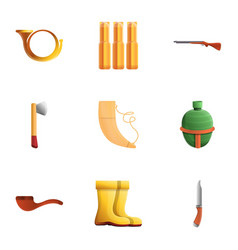 Hunting tools icon set cartoon style vector