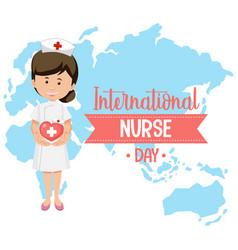 International nurse day logo with cute nurse vector