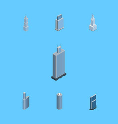 isometric construction set of skyscraper business vector image