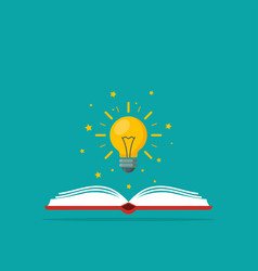 light bulb over book as a symbol knowledge vector image