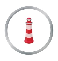 Lighthouse icon in cartoon style isolated on white vector