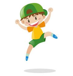 Little boy in green hat jumping vector