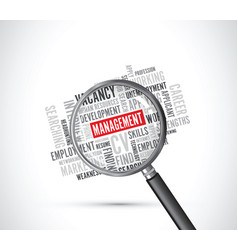 Management word background magnifying glass vector