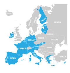 Map of eurozone states using euro currency grey vector