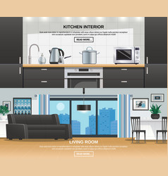Modern kitchen interior design banners vector