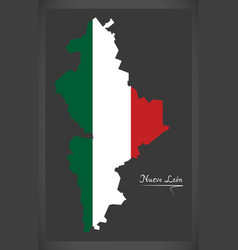 Nuevo leon map with mexican national flag vector