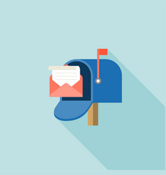 open mail box with envelope and message vector image
