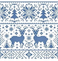 Pattern with deers trees and snowflakes vector