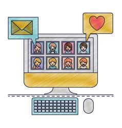 People picture profiles social network in desktop vector