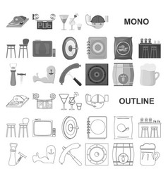 Pub interior and equipment monochrom icons in set vector