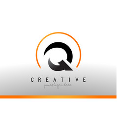 q letter logo design with black orange color cool vector image