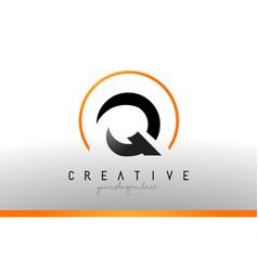 Q letter logo design with black orange color cool vector