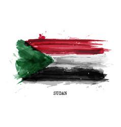 Realistic watercolor painting flag sudan vector