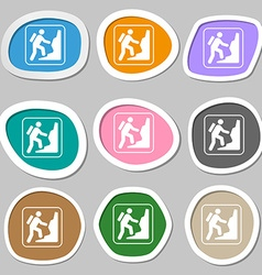 Rock climbing symbols Multicolored paper stickers vector