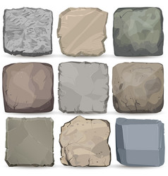 Rock stone cartoon banner set square stone panel vector