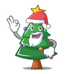 santa christmas tree character cartoon vector image